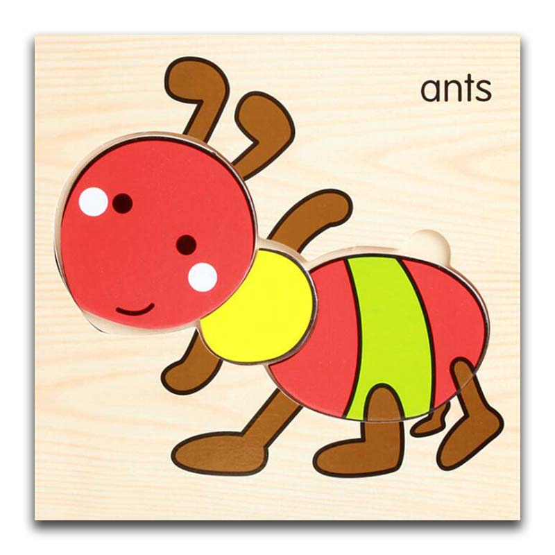 Cartoon Ants Wooden Animal Transportation 3d Puzzle Jigsaw Wooden Toys For Intelligence Kids Baby Early Educational Toy