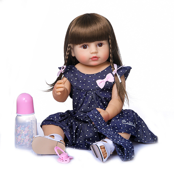 Full silicone vinyl reborn baby doll sweet girl bebe reborn toddler bonecas for children gift toy dolls 23""