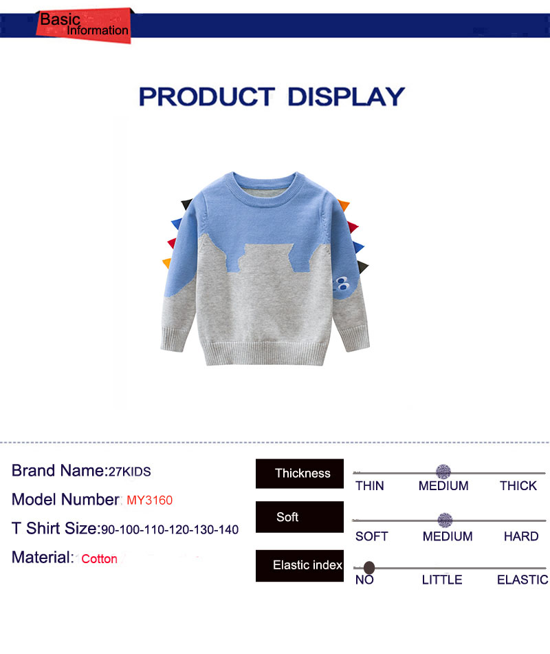 27kids Dinosaur Pattern Boys Knitted Sweater For Toddler Boy Kids Casual Spring Cartoon Warm Cotton Boys Sweaters Pullovers 4