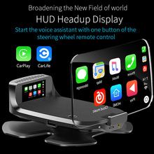 Auto Hud Head-Up Display OBD2 Smart Carplay Navigatie Carlife Speed Hd Projectie Draadloze Stuurwiel Afstandsbediening