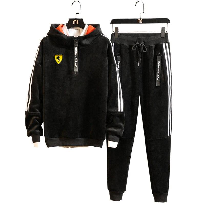 Men Velour Velvet Hoodies Warm Outdoor Gym TrackSuit Sport Sweats Jacket Coat Bottom Top Suit Trousers Pants Track Suit Outfit