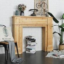 Chimenea de hogar americana Vintage accesorios de fotografía madera francesa Europea decoración Simple M gabinete sólida sala de estar boda