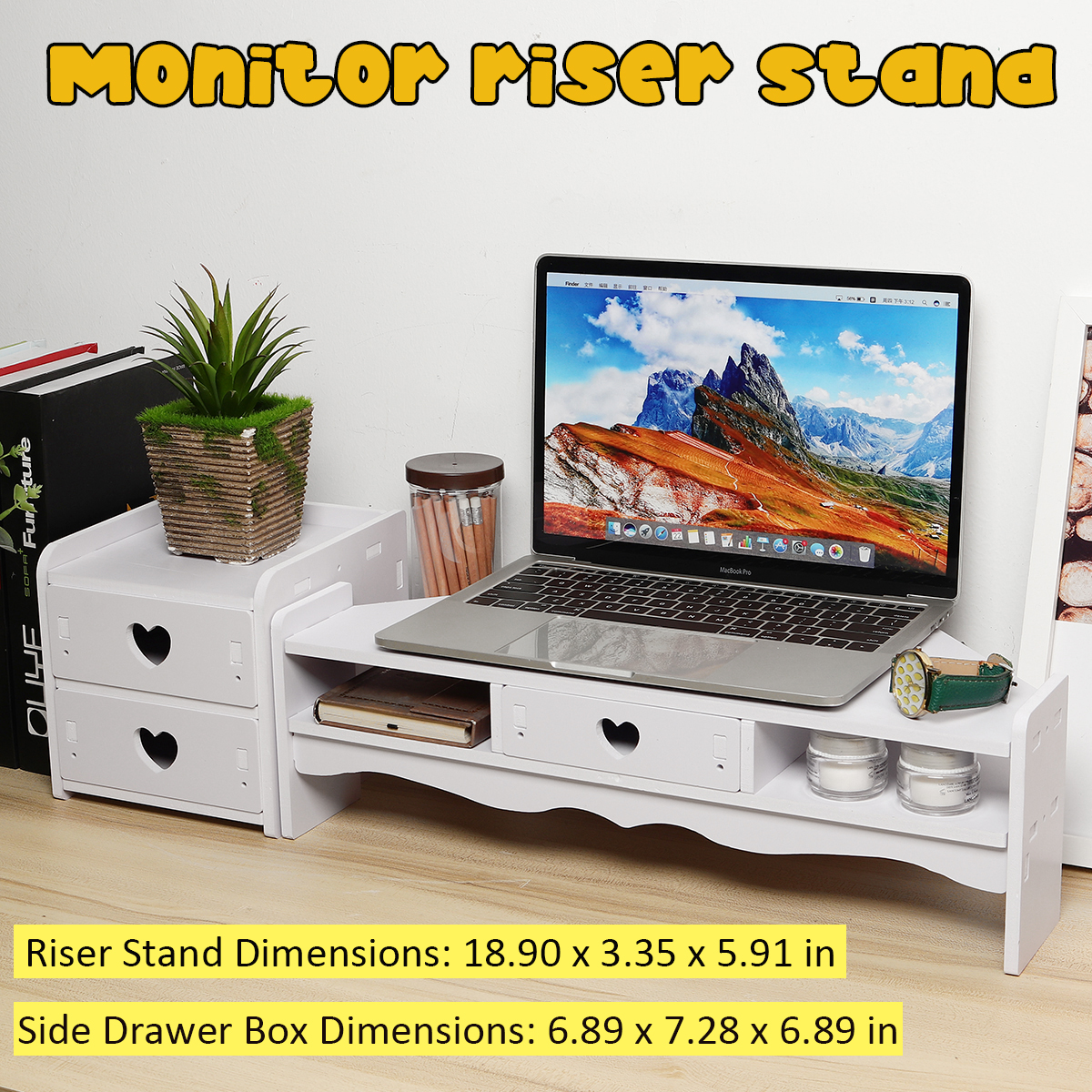 Multifunction Computer Monitor Riser Laptop PC Stand Drawers Home Office Table Storage Organizer Monitor Holder Screen Shelf