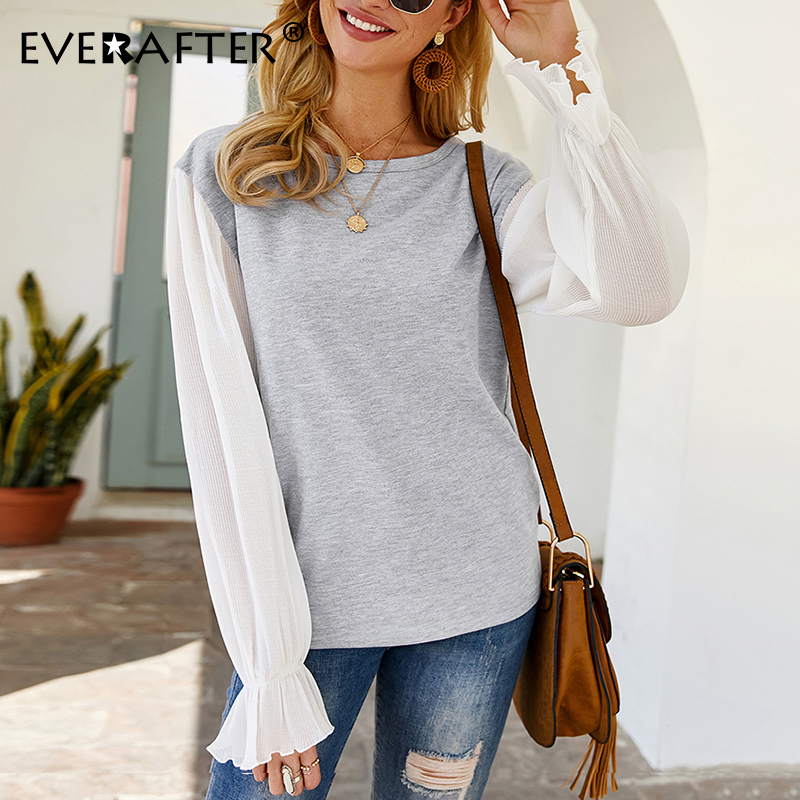 EVERAFTER Elegant Women Blouses O-Neck Long Sleeve Patchwork Office Shirt Spring Blouse Shirt Casual Ladies Top Blusas Femininas