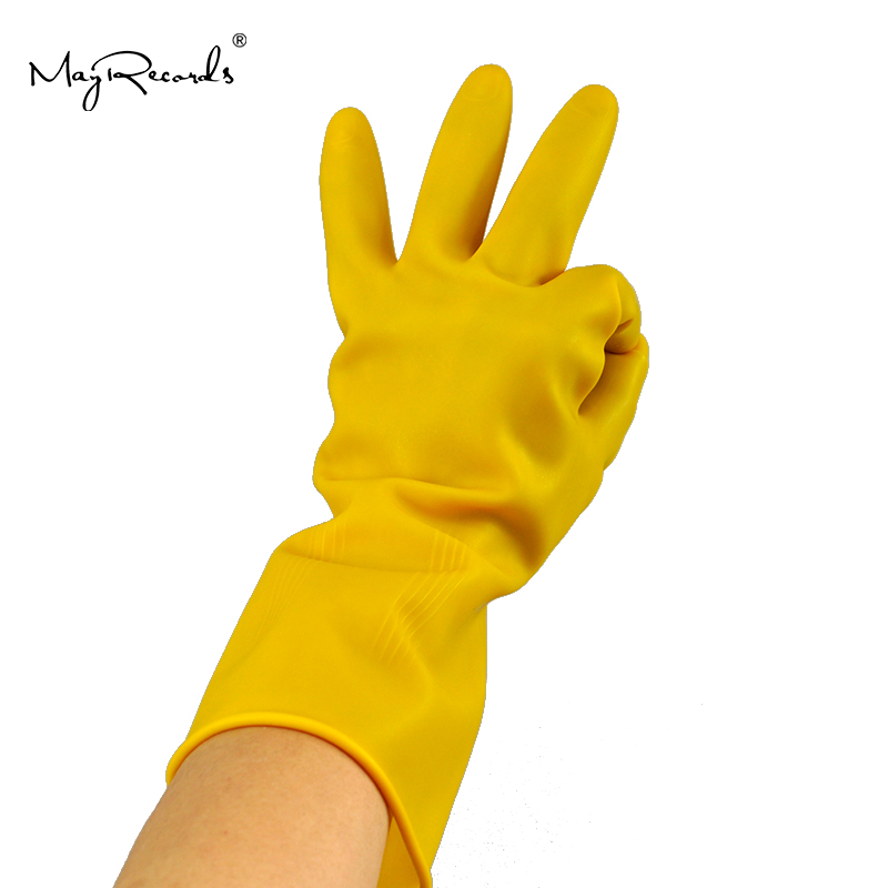 Free Shipping Household Natural Latex Thicken Acid Alkali Resistant Gloves Safety Gloves Waterproof Resistance Soiling