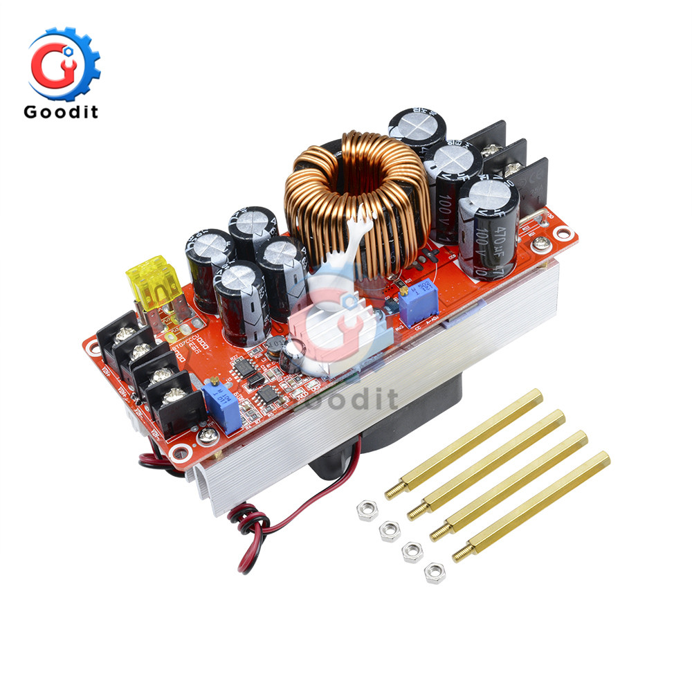 1500W 30A DC-DC Step Up Boost Converter 10-60V to 12-90V Current Power Supply Module With <font><b>Fan</b></font> image