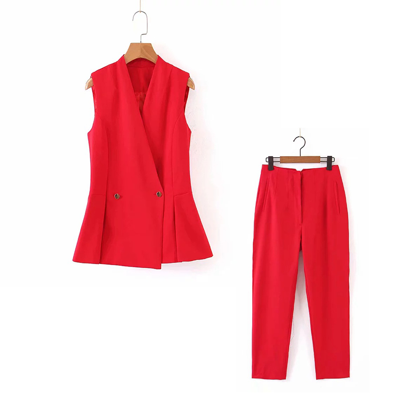 2019 Autumn New Stylish Slim Sleeveless Red Blazer Women Suits Pants Suit Casual Office Set Women's Two-piece Suit
