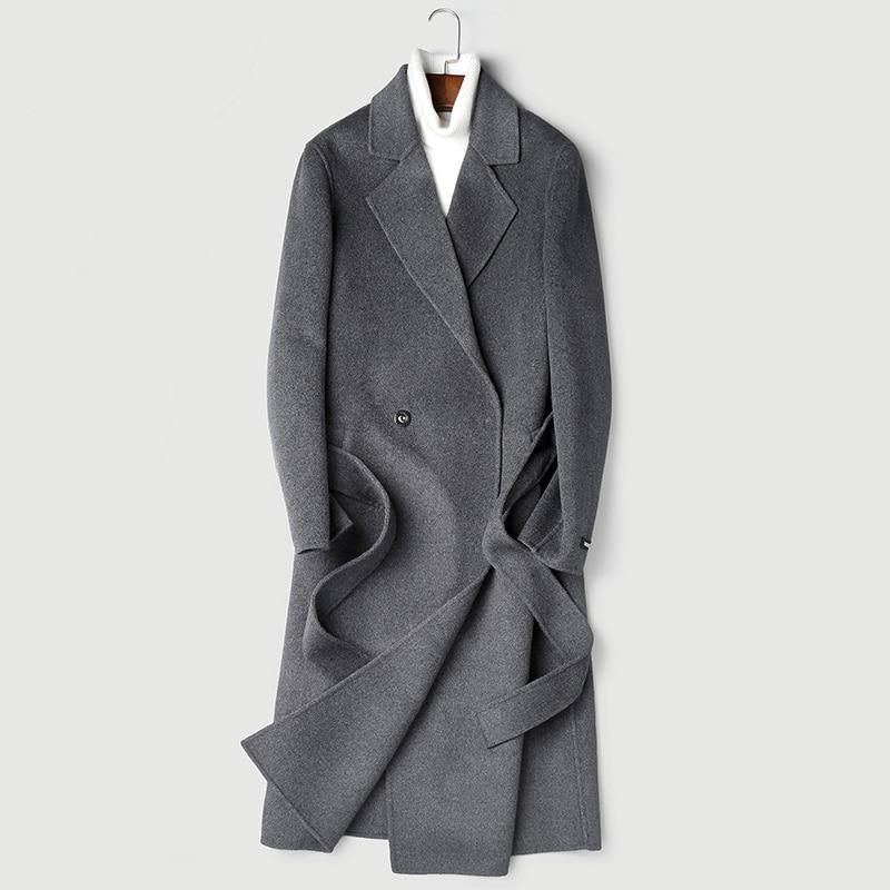 Real 100% Wool Coat 2020 Autumn Winter Jacket Men Double-side Woolen Coats Long Overcoat Abrigo P-S8253Z ZL968