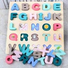 Quebra-cabeça brinquedos de madeira digital aprendizagem precoce jigsaw letra número alfabeto enigma pré-escolar brinquedo do bebê educativo para crianças presentes