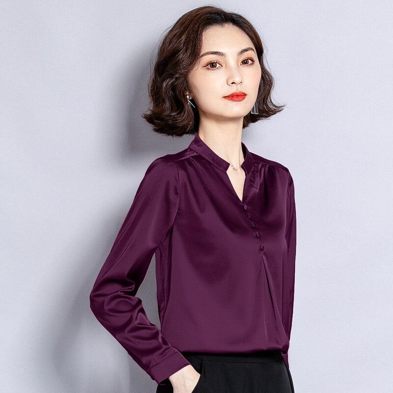 Moda outono Coreano Mulheres Camisas De Seda de Cetim de Manga Longa Mulheres Blusas Plus Size XXL Blusas Femininas Elegante Das Senhoras Tops
