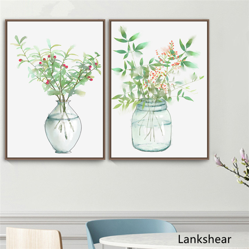Watercolor Flower Vase Wall Art Canvas Painting Nordic Posters And Prints Wall Pictures For Living Room Home Decoration Artwork in Painting Calligraphy from Home Garden