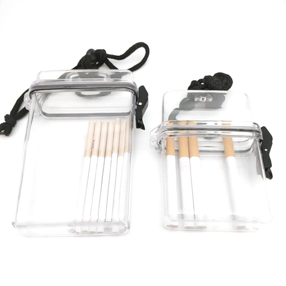 Transparent Waterproof Clear Cigarette Case Box Neck-hung Portable Plastic Lipstick Lighter Card Storage Box Holder With Lanyard