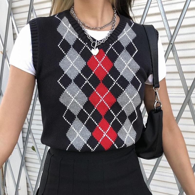 Chaleco de Su/éter de Punto para Mujer Y2K Argyle Plaid E-Girls Estilo Preppy 90s Sin Mangas Cuello en V Argyle Plaid Crop Knitwear Tank Top Streetwear