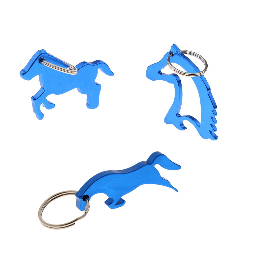 3 Pcs Aluminium Alloy Horse Beer Bottle Opener Key Ring Keychain Bag Pendent Keychains Wedding Party Favor Gifts Blue