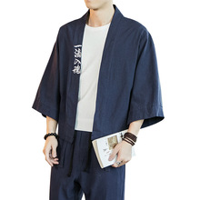 New Cotton Linen Men Shirts Jacket Kimono Male Chinese Japan Style Embroidery Three Quarter Sleeve Open Stitch Coats