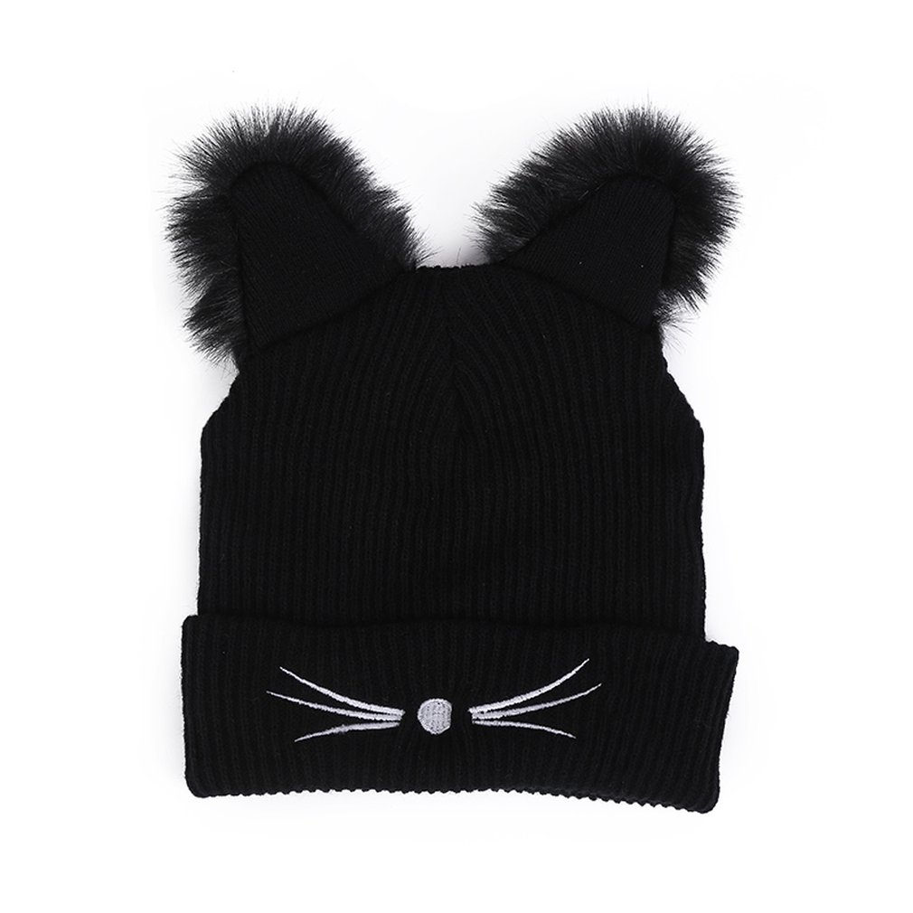 Women Cute Cat Ears Black Knitted Winter Warm Hat Pompom Caps Female Bonnet Polyester Braided Hat For Dropshipping