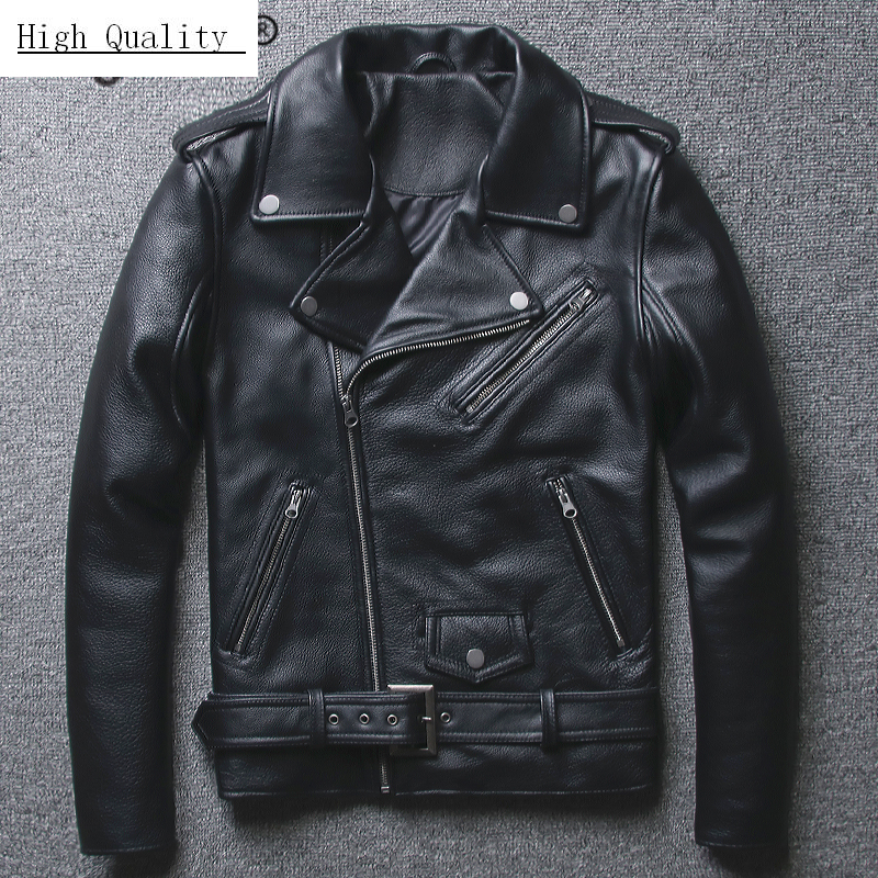 100% Real Sheepskin Coat Men Autumn Winter Clothes 2020 Streetwear Genuine Cow Leather Jacket Fit Moto Biker Coats LW2095