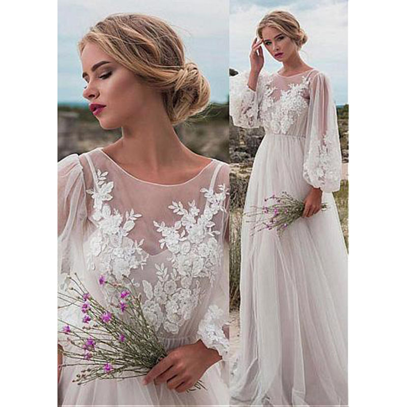 Tulle Wedding Dresses Applique Dexy Open Back Sleeves A Line Floor Length Wedding Gowns Custom Made Bridal Dress Custom Made