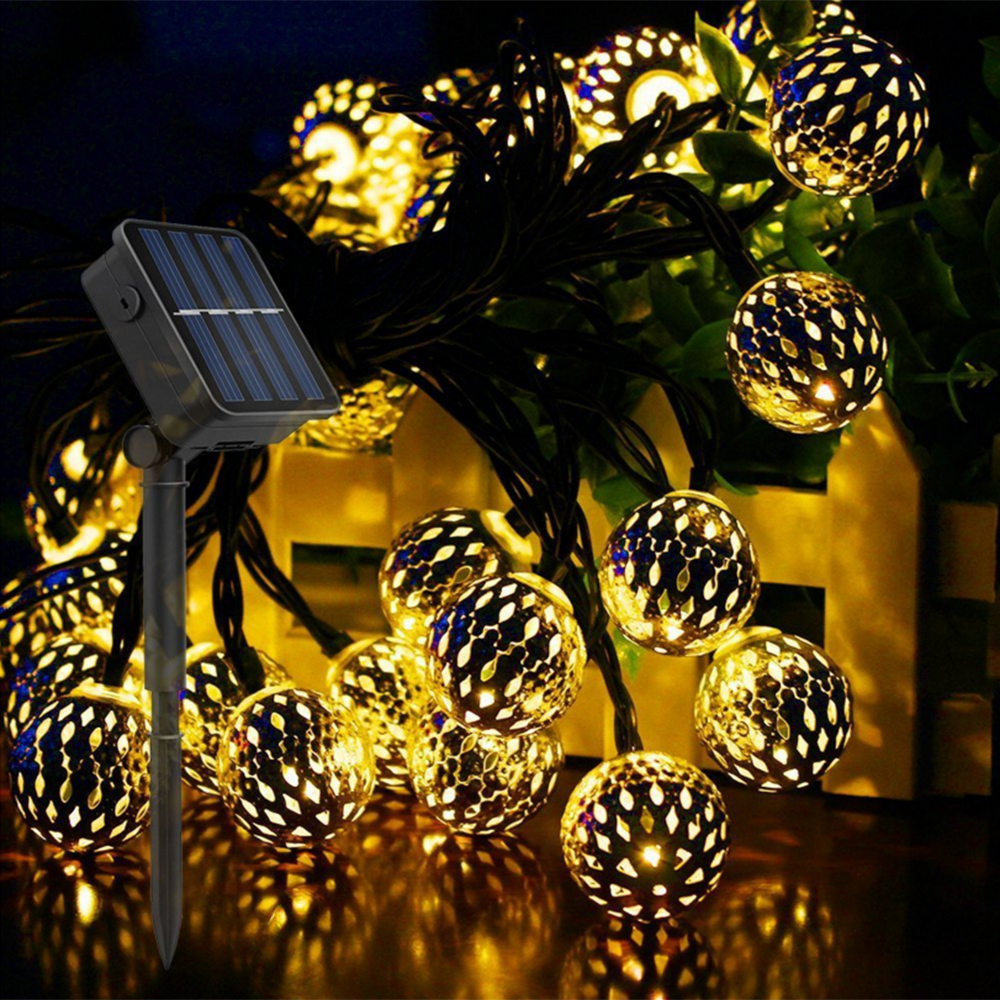 Ball LED String Light Solar Powered Fairy Light Holiday Light Christmas Garland Lights For Holiday Party Wedding Home Decoration