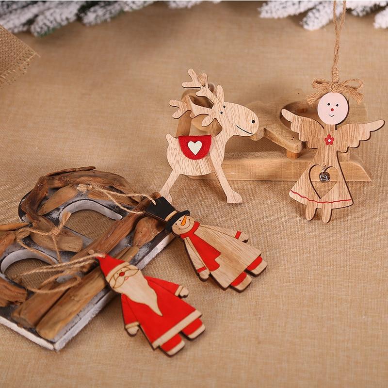 Wood Santa Angel Elk Christmas Tree Decoration Pendants Hanging Ornaments Crafts Xmas New Year Party Wedding Home Decor 63263