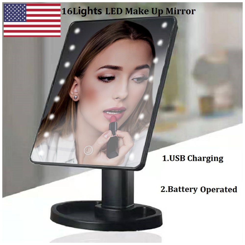 US <font><b>LED</b></font> Touch Screen Makeup Mirror Professional Vanity Mirror With <font><b>16</b></font> <font><b>LED</b></font> <font><b>Lights</b></font> Adjustable 360 Rotating Tabletop Cosmetic Mirror image