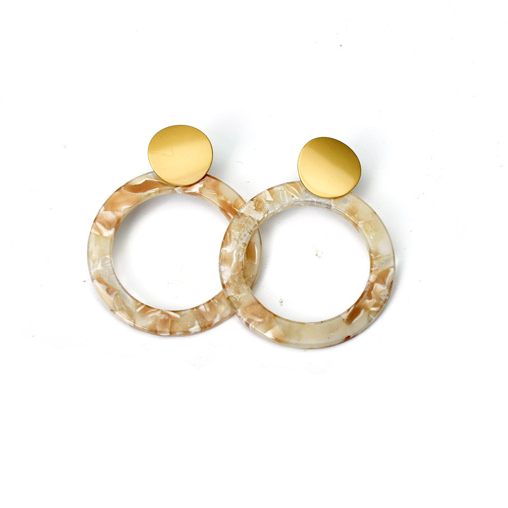 Vintage Women Water Drop Hollow Round Geometric Dangle Earrings Acrylic Jewelry