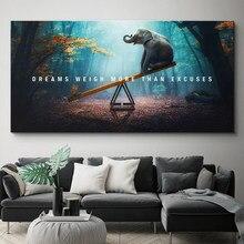 Tier Motivations Zitat Leinwand Malerei Poster Druck Brief Träume Wiegen Mehr Als Ausreden Wand Kunst Bild Wohnzimmer Decor