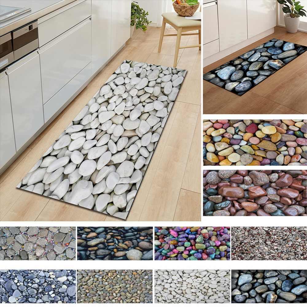 1 PC Anti-Rutsch Küche Teppich Willkommen Fußmatte Schwarz Weiß Marmor Gedruckt Boden Matte Flur Portch Teppich Tür Matten outdoor