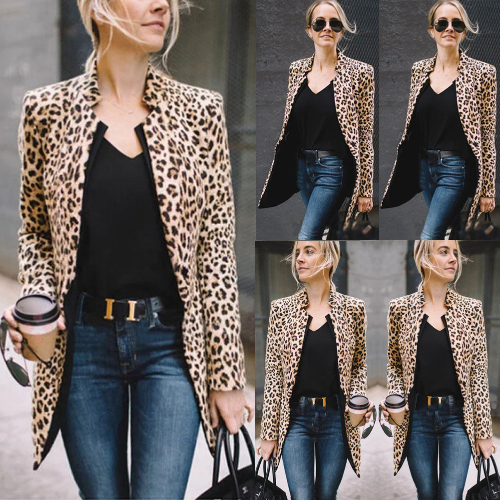 Women Leopard Long Top Warm Casual  Cardigan Long Sleeve Coat Plus Size S-5XL