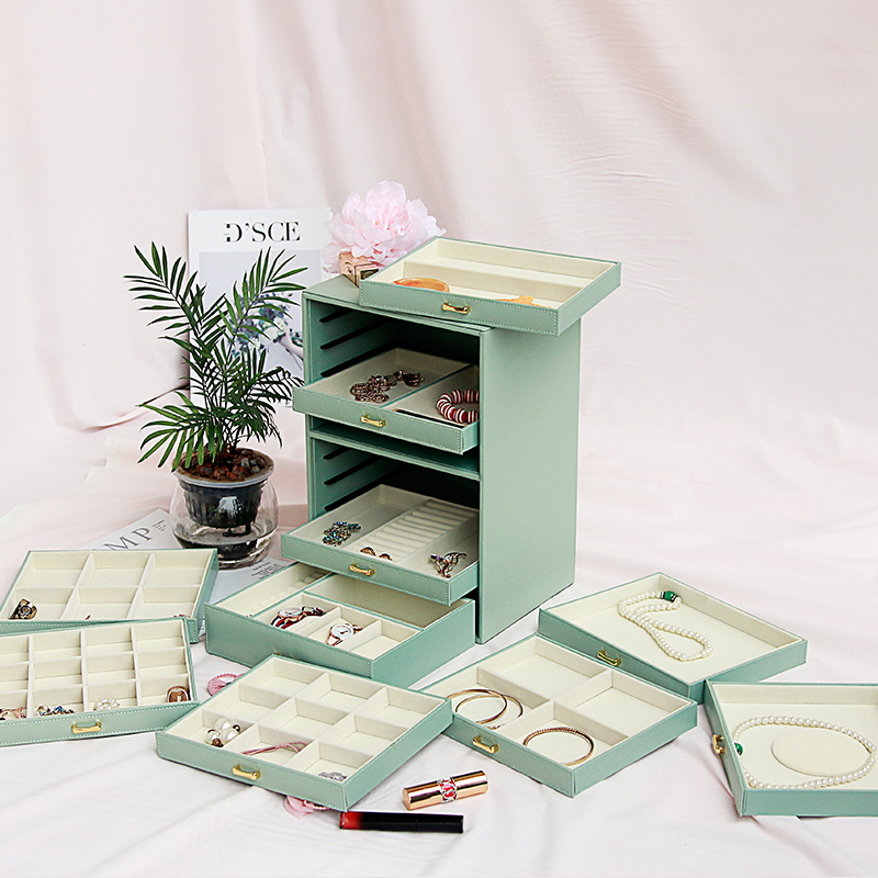 Large Capacity Multi storey Jewelry Box Ten storey European Princess Korea Jewelry Box Storage Box Jewelry