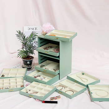 Large Capacity Multi storey Jewelry Box Ten storey European Princess Korea Jewelry Box Storage Box