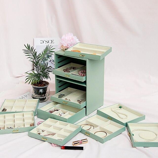 Large Capacity Multi storey Jewelry Box Ten storey European Princess Korea Jewelry Box Storage Box Jewelry