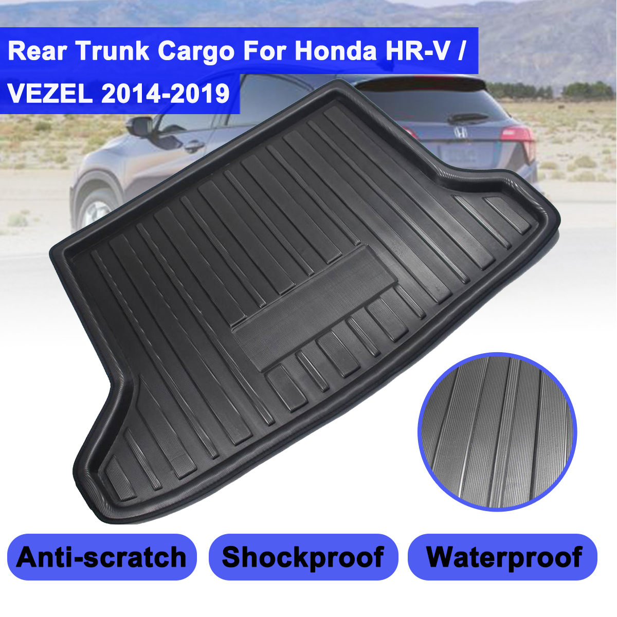 For Honda HR-V Vezel HRV 2014 -2019 Cargo Liner Boot Tray Rear Trunk Cover Matt Floor Carpet Mat Kick Pad Mud Non-slip Anti Dust