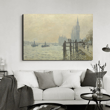 Claude Monet The Thames Wall Art Canvas Posters And Prints Canvas Painting Decorative Pictures For Office Living Room Home Decor claude monet morning on the seine canvas painting posters prints marble wall art painting decorative pictures modern home decor