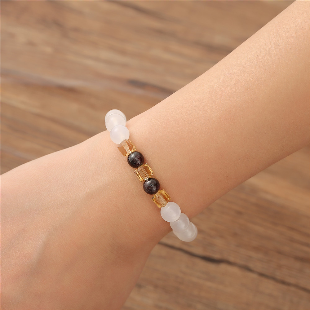 7mm Natural White Chalcedony Bracelets & Bangle For Women Jewelry Buddha Elastic Yoga Stone Bead Bracelet Drop Shipping 6