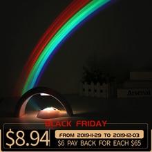 LED renkli gökkuşağı lamba LED gece lambası romantik gökkuşağı projektör lambası evrensel projeksiyon lambası taşınabilir ev dekor