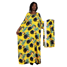 Dashikiage 4 Colors Elegant Casual African Dresses for Women O Neck Short Sleeve Yellow Print Loose Summer Maxi Dress with Scarf