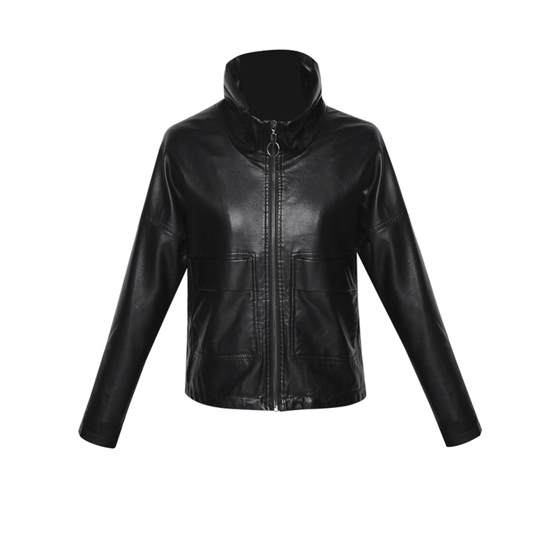 2020 fashion  Haining real leather jacket for women short style wide slim sheep leather jacket with stand-up collar