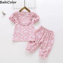 Girls Pajamas Set Summer Short Sleeve Children's Sleepwear Set cotton Pajamas Boy Pyjamas Sets for Kids Home Wear Clothing