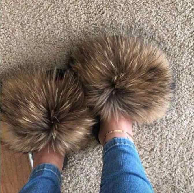 2019 New Fashion Real Fox Hair Slippers Flip Flops Summer Shoes Beach Slippers Slides Slip On Shoes Furry Slippers