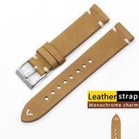 Hohe Qualität Aus Echtem Leder Uhr Strap Band 18mm 19mm 21mm 26mm Retro Handarbeit Nähen Armband Ersatz uhr Strap