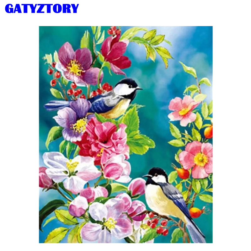 GATYZTORY Coloring By Numbers Flower Birds DIY Oil Painting By Numbers Canvas By Numbers Kits Wall Art For Home Decor