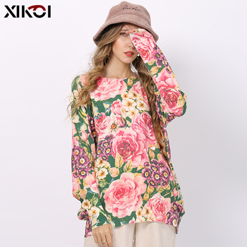 【SO BEAUTIFUL】Winter Flowers Print Sweater Women Pullovers Knitted O-Neck Oversized Jumper Warm Sweaters High Elastic Pull Femme