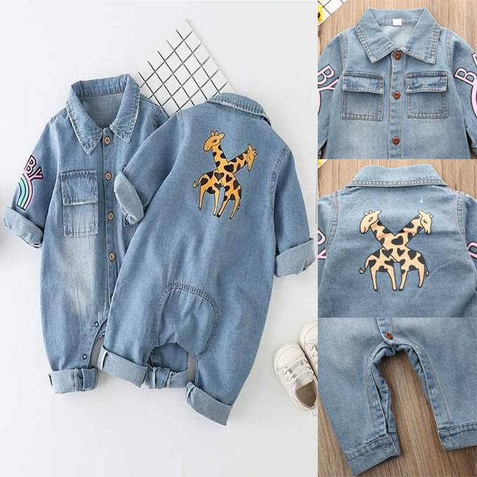 Cute Infant Baby Boy Kid Giraffe Denim Fabric Romper Autumn Winter Clothes