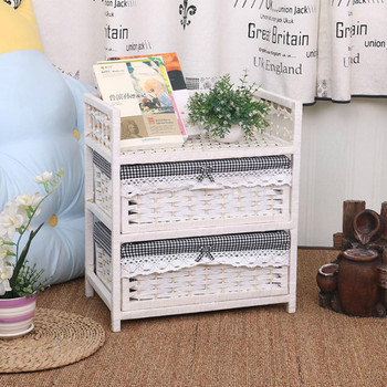 Two-layer white rattan storage cabinet drawer-style pastoral modern minimalist wooden bedroom bedside table