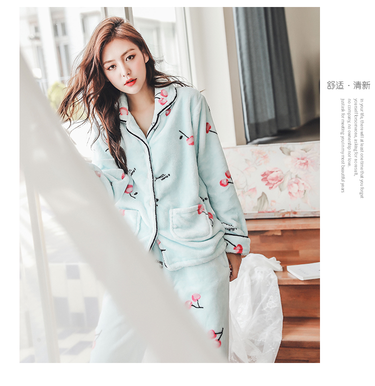 Plus Size 3XL 4XL 5XL Pyjamas women winter new Korean kawaii pink coral fleece warm pajama set thick flannel pijama home service 166