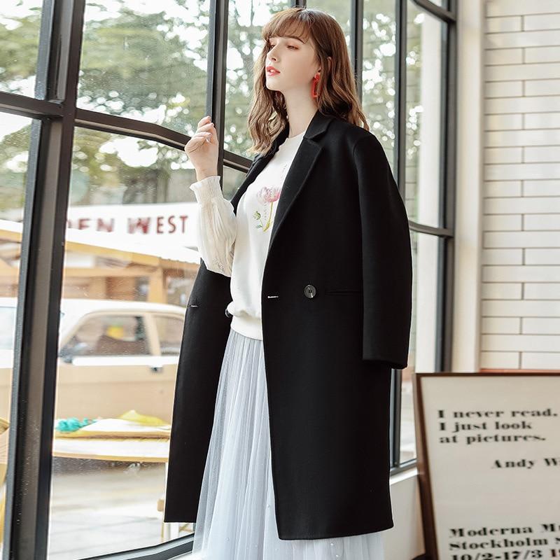 Moda 2019 nuevo otoño invierno abrigo de mujer solapa negro largo abrigo de lana Oficina señoras elegante estilo breve abrigo de lana ropa - 3