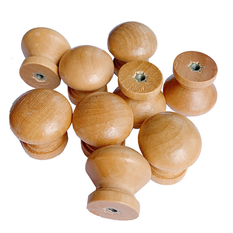 10PCS Natural Wood Cabinet Drawer Wardrobe Door Handle Hand In Hand Hardware Plain Round Handle Home Accessories Household Goods