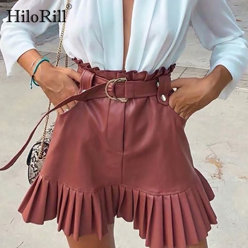 HiloRill Women PU Leather Pleated Skirt 2020 Ruffles Tie Belt Waist Pocket Skirt Zipper Fly Ladies Elegnt Mini Skirts Jupe Femme image