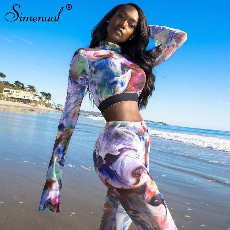 Simenual Sporty Casual Workout Women Two Piece Sets Fashion 2020 Skinny Print Tracksuits Flare Long Sleeve Top And Pants Set